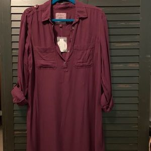 Burgundy shirt dress. NWT